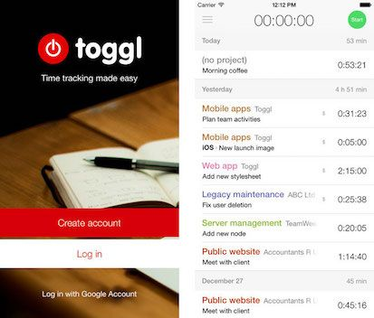 Toggl Screenshot